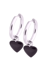 Little Heart Black - Hoops aus silbernem Stahl