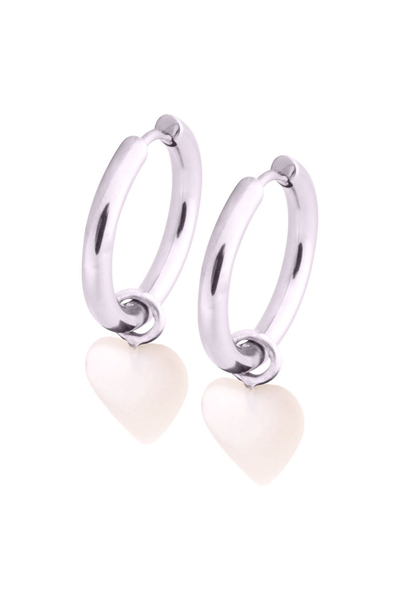 Little Heart Hoops - White