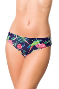 Bikini Panty with Exotic Pattern - Navy Blue