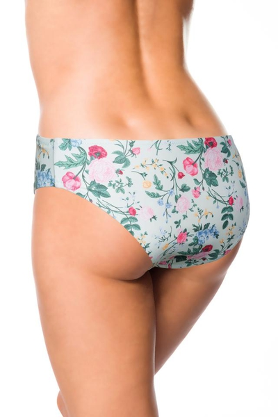 Bikini Panty with Delicate Flower Pattern - Green-Pink-Yellow