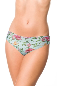 Bikini Panty with Flower Pattern - Blue-Pink-Green
