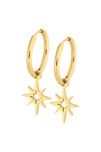 Little Polar Star Hoops - Steel Gold