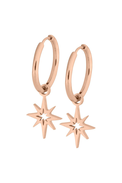 Little Polar Star Hoops - Steel Rosegold