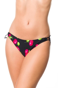 Bikini Panty with Cherry Pattern - Black-Pink