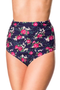 High Waist Bikini Panty with Floral Pattern - Blue-Pink