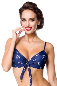 Vintage Bikini Top with Anchor Print