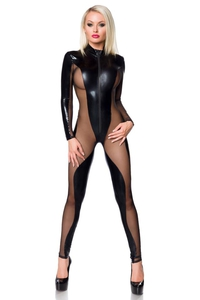Catsuit in Black Wetlook
