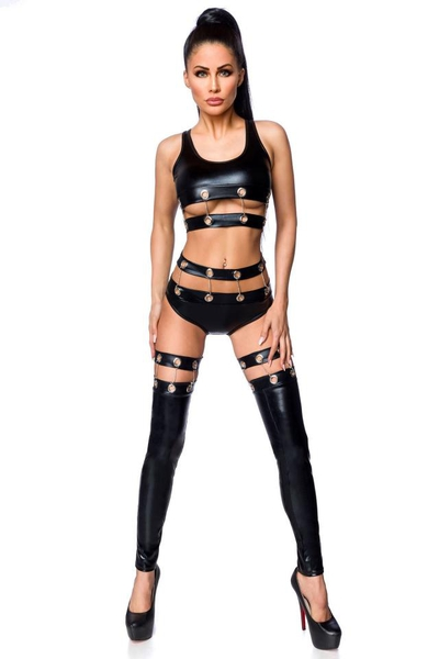 Top, Panty and Gauntlets Set in Black Wetlook
