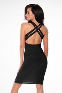 Black Bodycon Mini Dress with Criss-Cross Straps