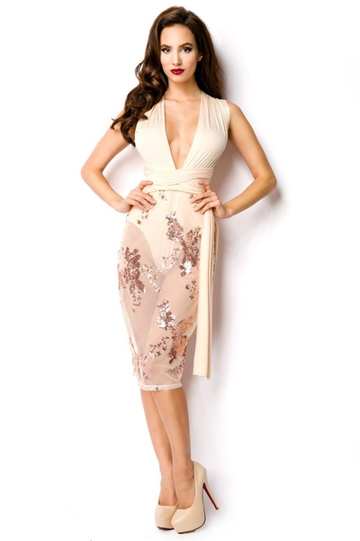 Nude Knee Dress with transparent Skirt and Sequins