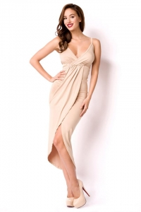 Nude Summer Dress with Deep Neckline