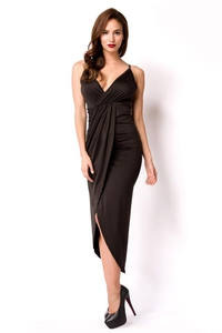 Black Summer Dress with Deep Neckline