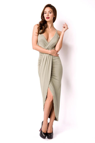 Light-Green Summer Dress with Deep Neckline