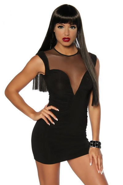 Black Bodycon Mini Dress with Mesh Panels