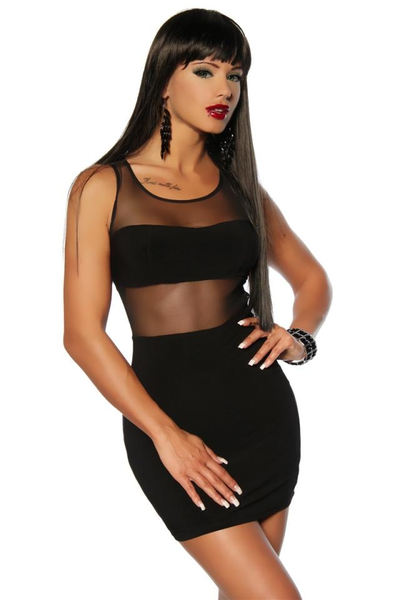 Black Mini Dress with Mesh Panels