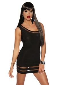 Black Asymmetric Mini Dress with Mesh Panels