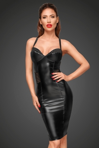 Wetlook Pencil Dress with Elastic Ribbon Panels -...