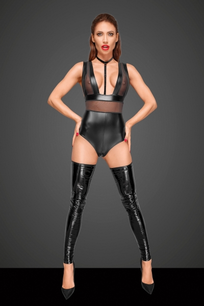 Wetlook Bodysuit with Tulle Panels and Choker - Decadence by Noir Handmade