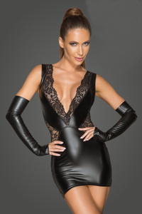 Wetlook and Lace Mini Dress with Deep Neckline -...