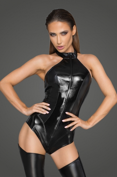 Wetlook and Lacquered Imitation Leather Bodysuit - Rebelious by Noir Handmade
