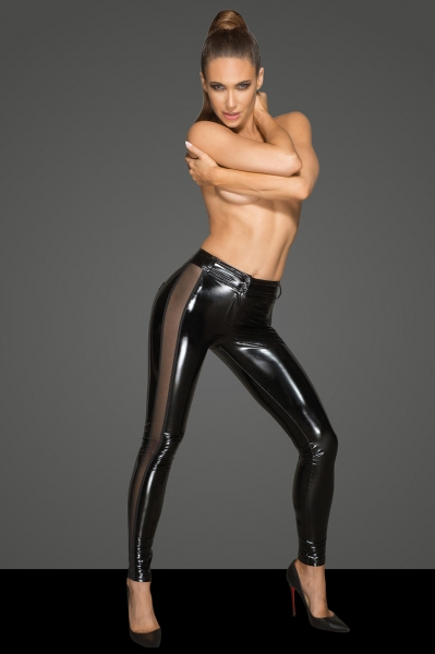 PVC Pants with Side Mesh Panels - Rebelious by Noir Handmade