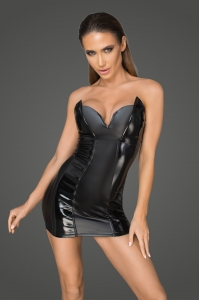 Wetlook and Leatherette Mini Dress - Rebelious by Noir...