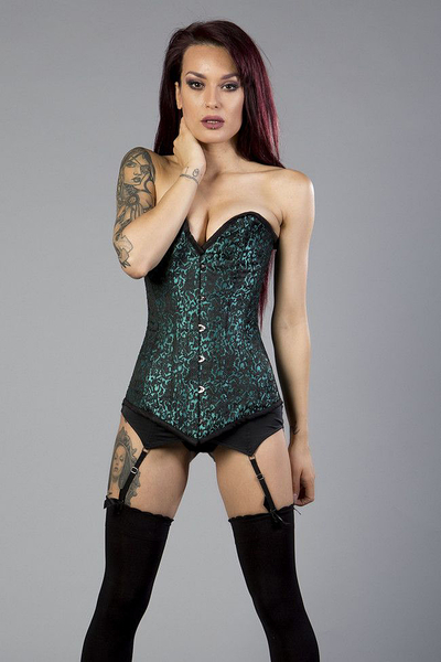 Victorian overbust long line corset in turquoise brocade