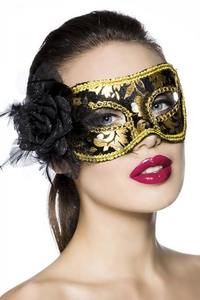 Black-Gold Lace Mask with Rose Detail