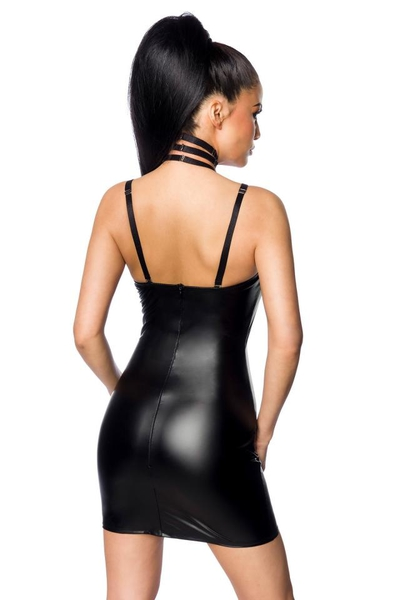 Powerlastic Wetlook Mini Dress with Harness