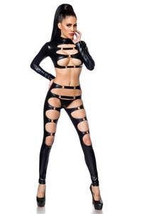 Longsleeve Top and Legging Set in Black Wetlook