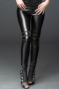 Skin-tight WetlookTrousers with Zips
