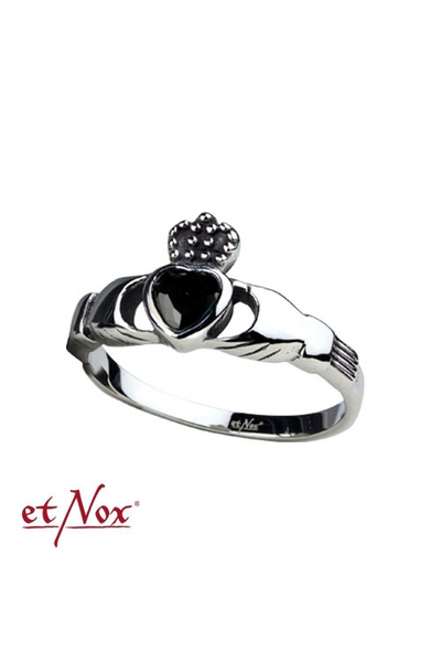 Ring Claddagh Steel with black Zirconia