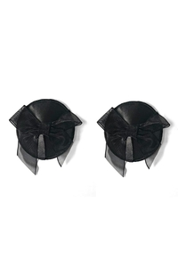 Round Black Nipple Covers with Bow