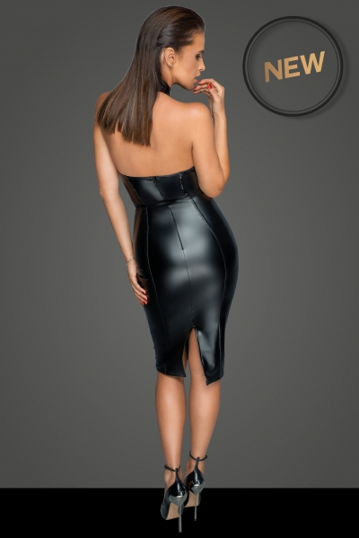 Wetlook Dress with deep Neckline - Missbehaved Noir Handmade