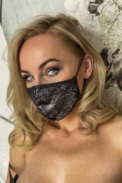 Powerwetlook and Lace Face Mask - Noir Handmade