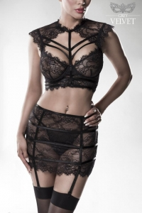 Seductive Lace Bra Set with Skirt by Grey Velvet
