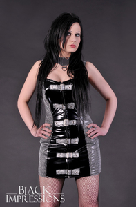 Mercury Buckle Dress - black-silver
